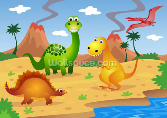 Fun Dinosaurs Wallpaper Wall Murals