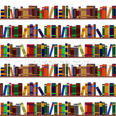 Bookshelf Illustration Wallpaper Wall Murals