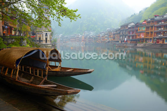 Historic Old River Town Wallpaper Wall Murals