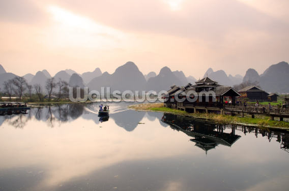 Sunrise in Yangshuo, Guilin Wallpaper Wall Murals