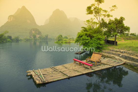 Bamboo Raft, Yangshou Wallpaper Wall Murals