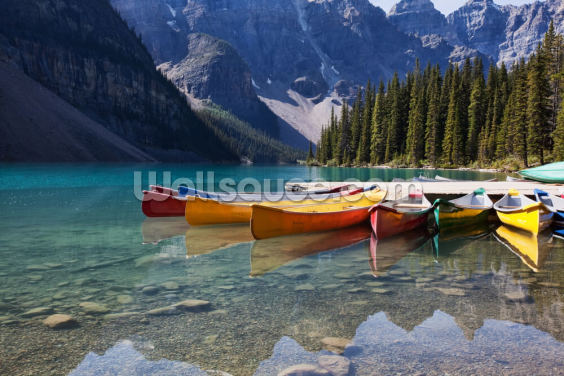 Moraine Lake Canoes Wallpaper Wall Murals