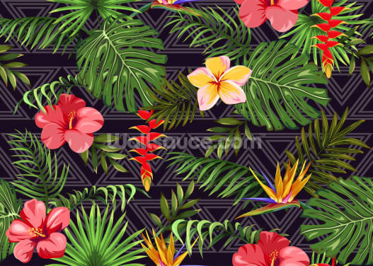 Exotic Flowers and Tropical Leaves Wallpaper Wall Murals