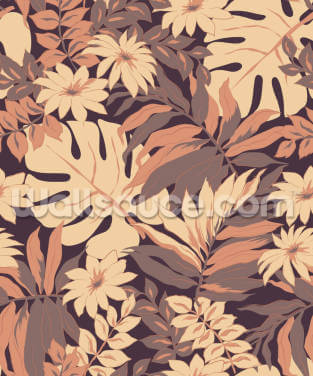 Exotic Pink Leaves Wallpaper Wall Murals