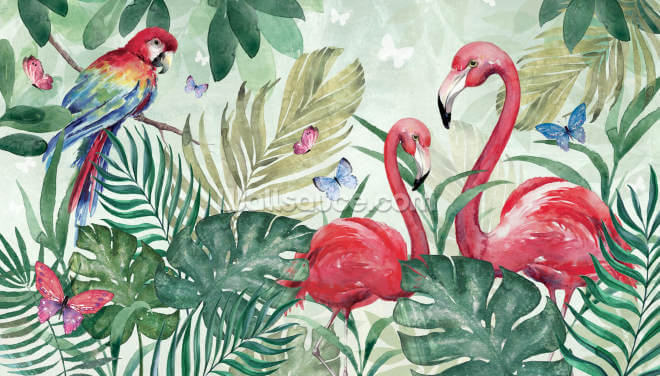 Tropical Flamingo Wallpaper Wall Murals