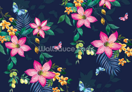 Tropical Flowers on Navy Wallpaper Wall Murals