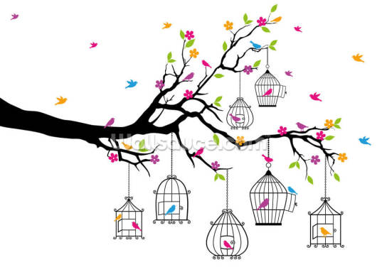 Tree with Birdcages Wallpaper Wall Murals