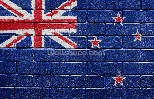 New Zealand Flag on Brick Wall Wallpaper Wall Murals