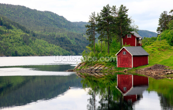Red House on the Lake Wallpaper Wall Murals
