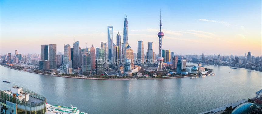 Shanghai Skyline Panoramic Wallpaper Wall Murals