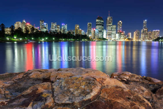 Brisbane Night Reflections Wallpaper Wall Murals