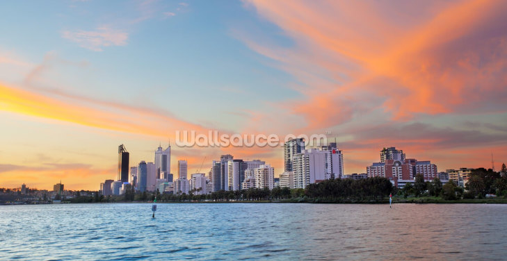 Perth Skyline at Sunset Wallpaper Wall Murals