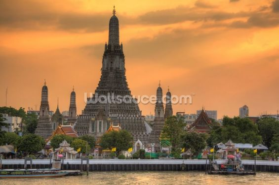 Bangkok - Wat Arun Sunset Wallpaper Wall Murals