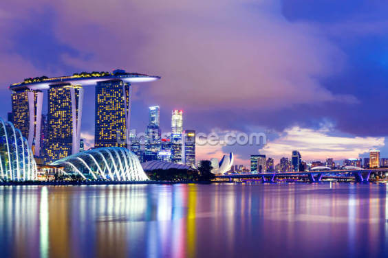 Singapore Skyline at Night Wallpaper Wall Murals