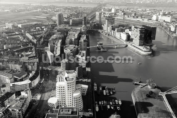 Düsseldorf Ariel View in Black & White Wallpaper Wall Murals