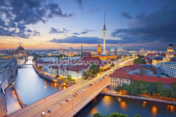 Berlin Evening Skyline Wallpaper Wall Murals
