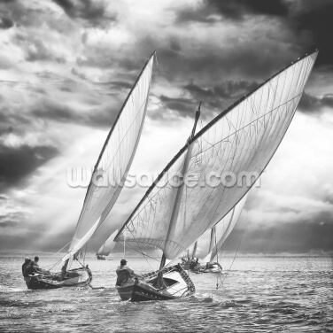 Sailboats and Light Wallpaper Wall Murals