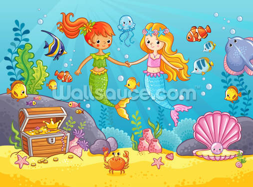 Mermaid Best Friends Wallpaper Wall Murals