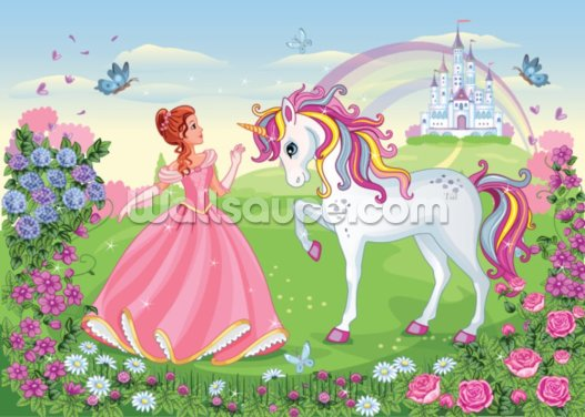 Beautiful Princess and White Unicorn Wallpaper Wall Murals