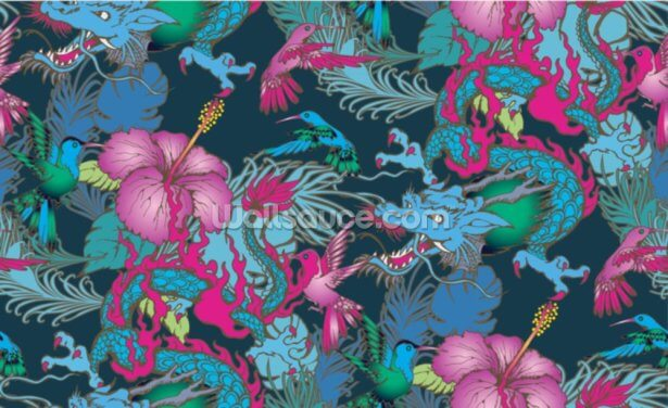 Floral Dragon Tattoo Wallpaper Wall Murals