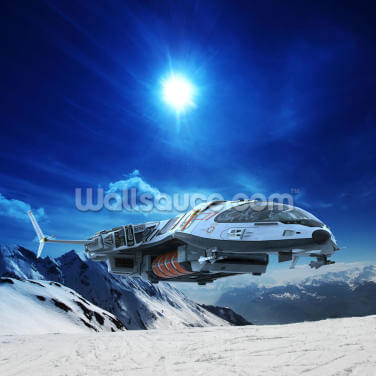 Spaceship in Snow Planet Wallpaper Wall Murals