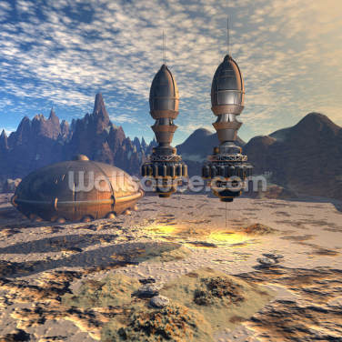 Alien UFO Ship on Alien Planet Wallpaper Wall Murals