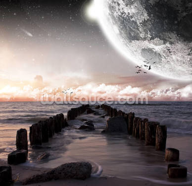 Planet Landscape from a Beach Wallpaper Wall Murals