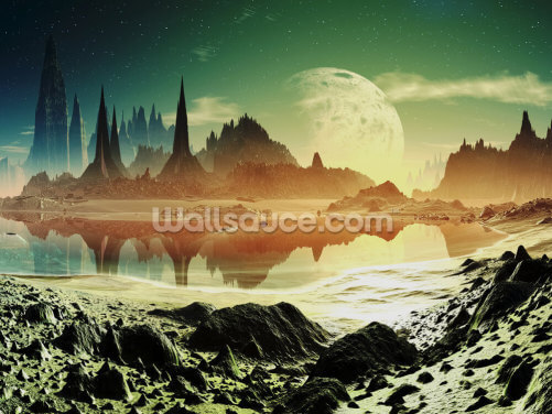 Alien City Ruins Beside the Lake Wallpaper Wall Murals