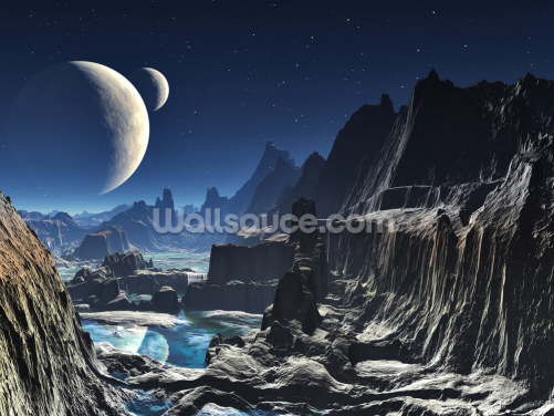 Moonlit Alien Valley Canyon Wallpaper Wall Murals