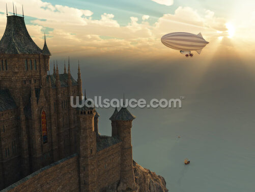 Fantasy Castle and Flying Zeppelin Wallpaper Wall Murals