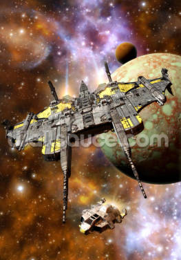 Spaceship and Space Pirates Wallpaper Wall Murals