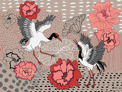Soul Birds Cranes Wallpaper Wall Murals