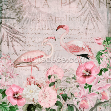 Pink Flamingo Flowers Wallpaper Wall Murals