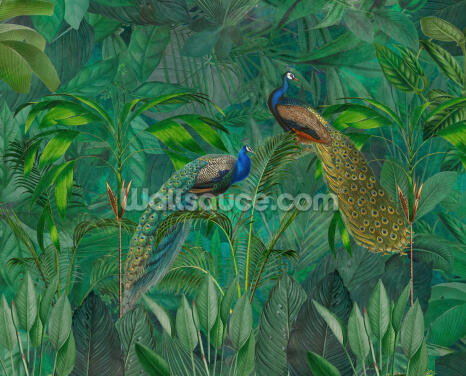 Peacock Paradise Jungle Wallpaper Wall Murals