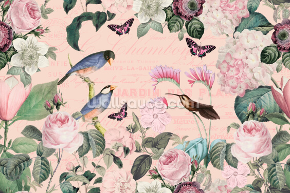 Pink Bird Romance Wallpaper Wall Murals