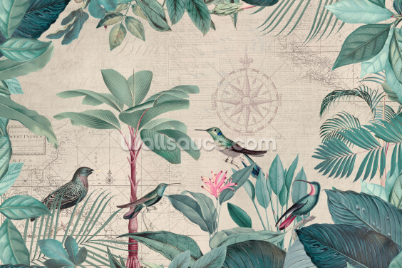 Pale Tropical Journey Birds Wallpaper Wall Murals