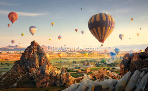 Air Balloon Mountainscape Wallpaper Wall Murals