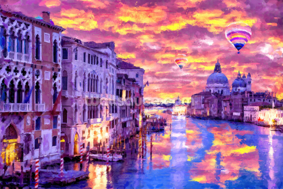 Mountain Venice Burning Sky Wallpaper Wall Murals