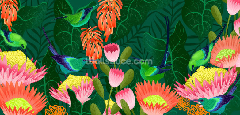 Malachite Birds Wallpaper Wall Murals