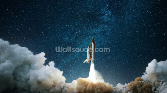 Spaceship Takes Off into the Starry Sky Wallpaper Wall Murals