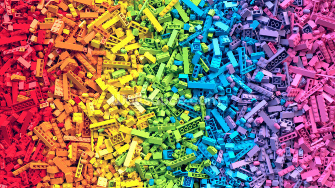 Rainbow Toy Bricks Wallpaper Wall Murals