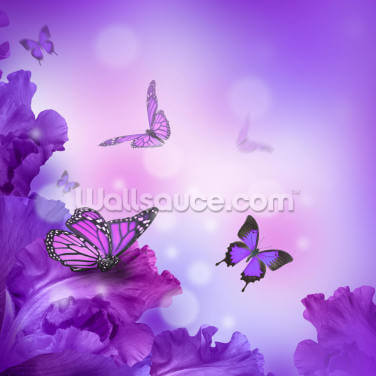 Butterflies and Hydrangeas Wallpaper Wall Murals