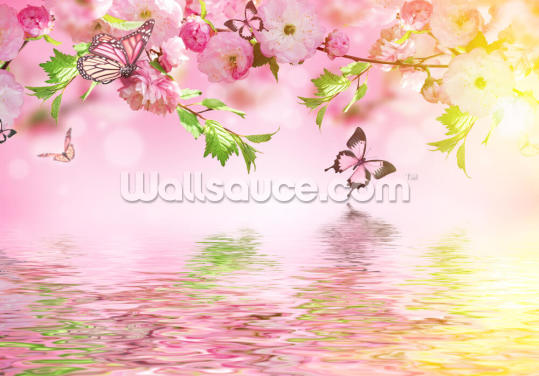 Sakura with Butterflies Wallpaper Wall Murals