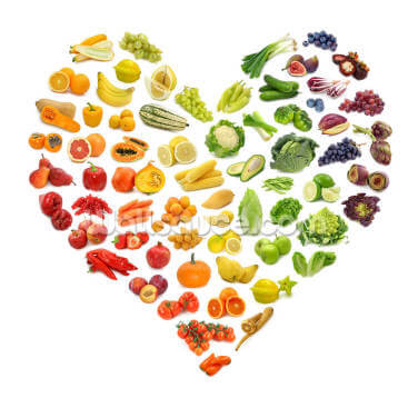Heart Shape of Fruits and Veg Wallpaper Wall Murals