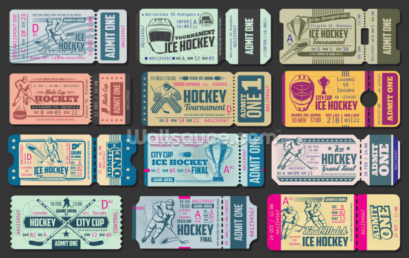 Ice Hockey Tickets Wallpaper Wall Murals