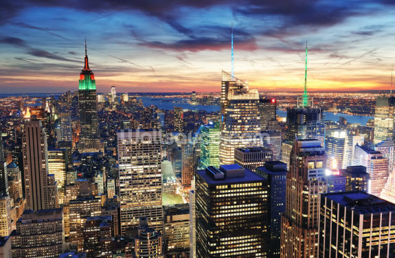 NYC Bright Lights Architecture Wallpaper Wall Murals