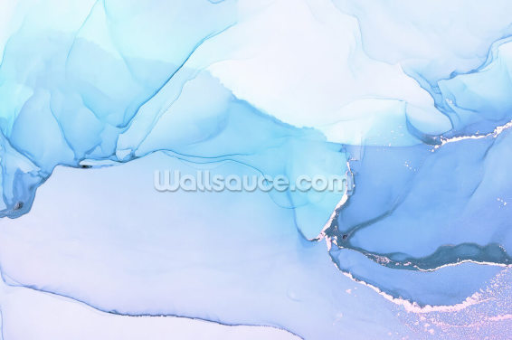 Blue Waves Watercolour Wallpaper Wall Murals