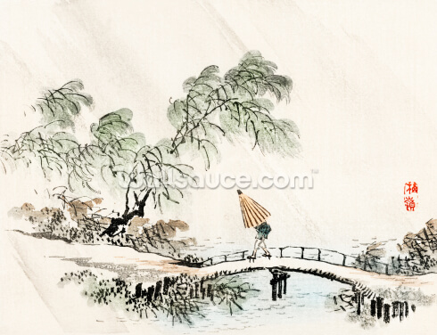 A Man Crossing the Bridge Wallpaper Wall Murals