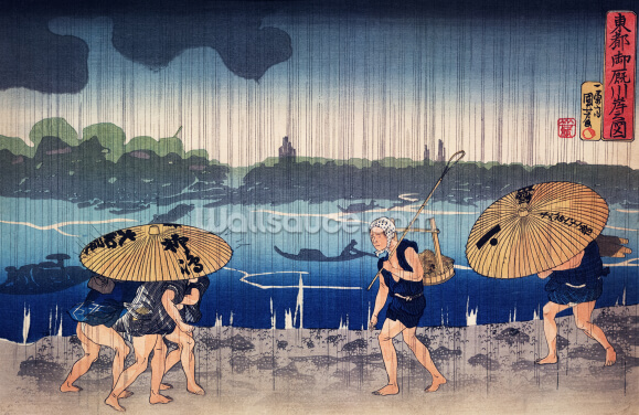 People Walking Beneath Umbrellas Wallpaper Wall Murals