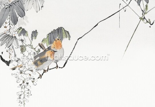 Two Sparrows Perched on a Branch Wallpaper Wall Murals